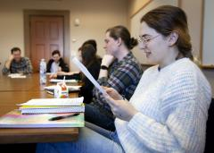Students attend English Professor David McGlynn's creative writing course during winter term. Students attend English Professor David McGlynn's creative writing course during winter term.