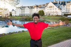 """Senior Deonte Carlton from Green Bay worked this summer as a sales reservation agent at The Osthoff Resort in Elkhart Lake through Lakeland's co-op program. """"I am around experienced people who are teaching me how to be a great employee."""" Senior Deonte Carlton from Green Bay worked this summer as a sales reservation agent at The Osthoff Resort in Elkhart Lake through Lakeland's co-op program. """"I am around experienced people who are teaching me how to be a great employee."""""""