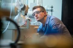 A student works inside the Gehl-Mulva Science Center at St. Norbert College. A student works inside the Gehl-Mulva Science Center at St. Norbert College.